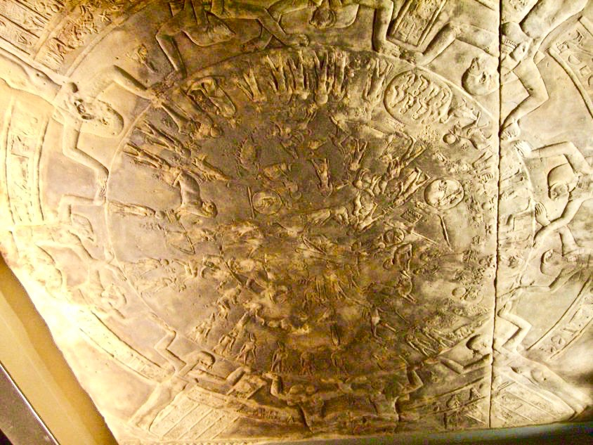 The Dendera Zodiac displayed at the Louvre.